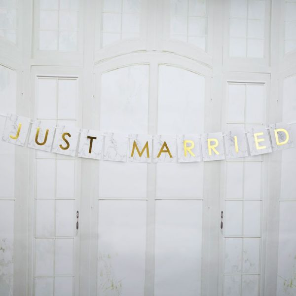 Scripted Marble Just Married Car Bunting